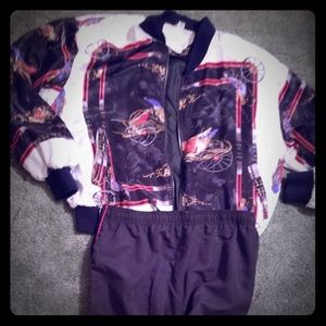 Black red and white silky vintage track suit...